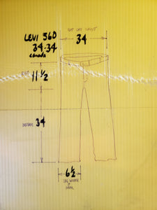 "Levi's 560 red tab 34""x34"" Made in Canada . High rise with full leg, tapered to tight cuff"