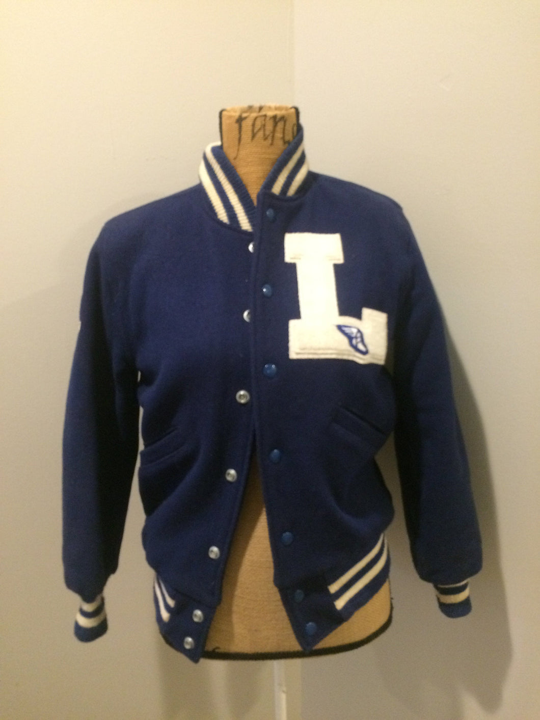 "Vintage 1950's Butwin Blue/White Wool Varsity Jacket ""Dartmouth Lakers"" (size 34). Made in Canada"