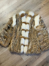 "Load image into Gallery viewer, Light brown with white fur accents <span>(we believe rabbit and fox)</span>. ""Car coat"". <span>Stylized circa 1970's. Made in Greece."