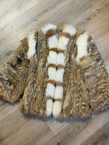 "Light brown with white fur accents <span>(we believe rabbit and fox)</span>. ""Car coat"". <span>Stylized circa 1970's. Made in Greece."