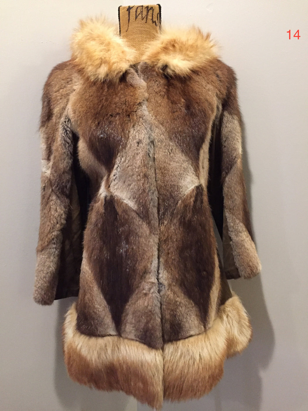 Vintage Northern Canadian Hooded Fur and Suede Coat with Fox Fur Trim