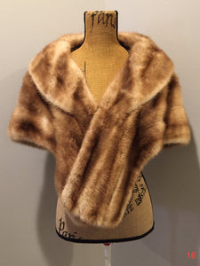 "Kingspier Vintage - ""Furs by Offman"" vintage blonde sable fur stole, made in Halifax, Nova Scotia, Canada. The lining features an embroidered monogram ""MB"" and the Offman label."