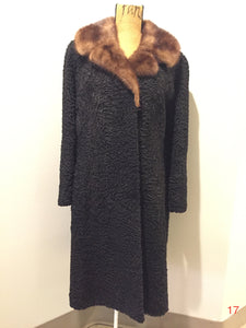 "Vintage Full Length Persian Lamb with Mink Fur Collar, ""American Furriers"" Made in St. Johns, Canada"