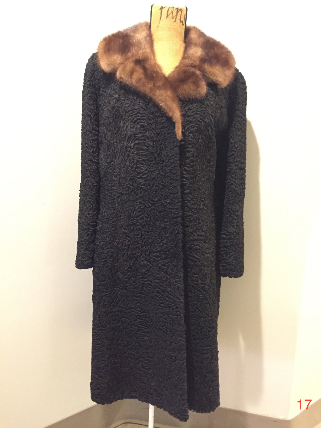 Vintage Full Length Persian Lamb with Mink Fur Collar,