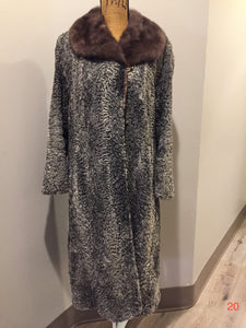 "Vintage Australian Persian lamb full length coat with ox fur collar, ""Simon of Paris, Montreal. This coat features hook and eye closures, Silver lining with beautiful blue flower motif, an inside pocket, an embroidered monogram ""GMR"" and a Simon of Paris, Montreal Label."