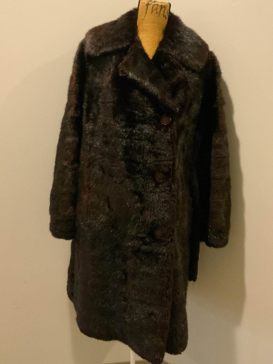 "Vintage dark brown shorn beaver fur coat, ""K"" monogram embroidered on inside pocket, black lining with red and black foliage motif"
