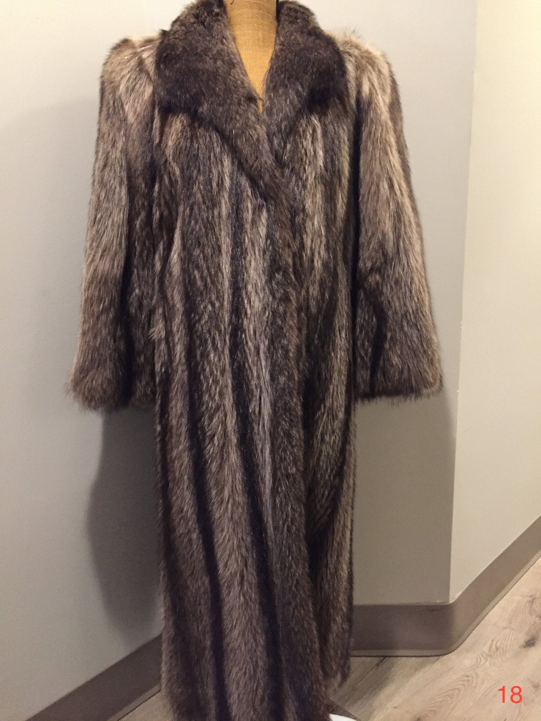 Vogue Furriers, Styled by Friedman Brothers, full length raccoon coat. Made in Sydney, Nova Scotia, Canada.
