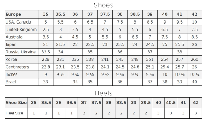 Sizing Guide | Tanya Heath Shoes