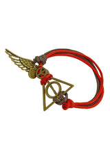 Deathly Hallows with Wing Double Cotton Bracelet in Multiple Color Options