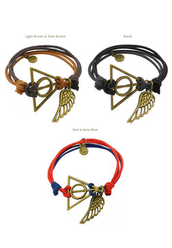 Deathly Hallows with Wing (Simplified) Double Cotton Bracelet in Multiple Color Options