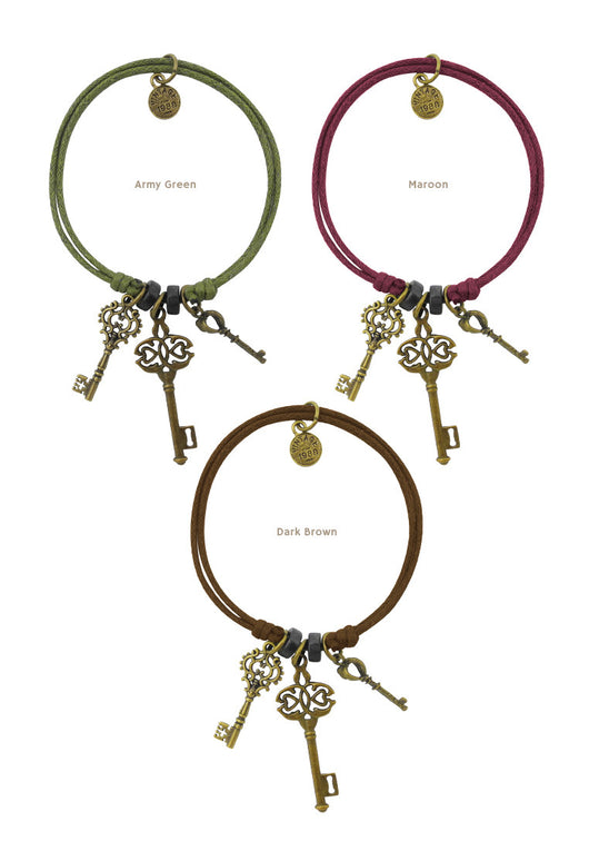 Life Lessons (Keys) Cotton Bracelet in Multiple Color Options