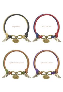Infinity Dreamer with Wings Double Cotton Bracelet in Multiple Color Options