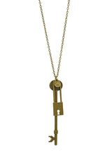Perfect Match (Skeleton Key and Lock) Long Necklace