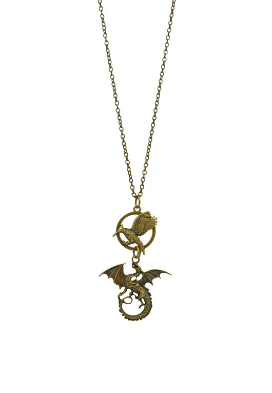 The Epic Catching Fire and Dungeon/ Hunger Games/ Catching Fire Mockingjay Unisex Long Necklace