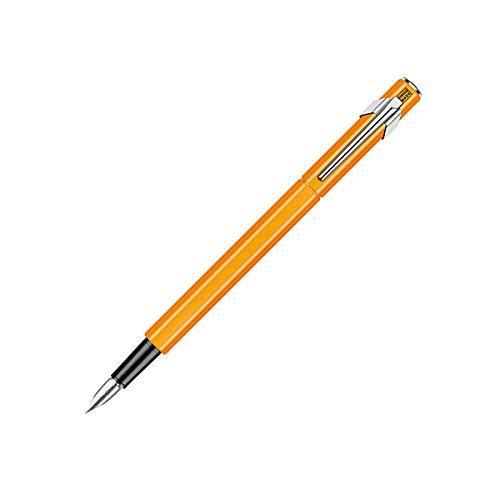Caran d'Ache 849 Fountain Pen, Orange Fluorescent Aluminum Body, Nib Broad