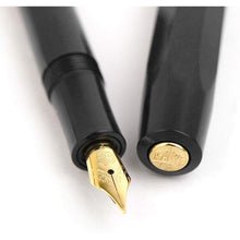 Load image into Gallery viewer, Kaweco Sport Classic Fountain Pen Black, Fine Nib with Octagonal Clip Gold - GoldenGenie