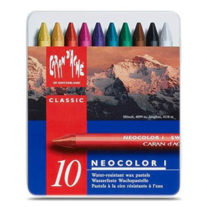 Neocolor I Water-Resistant Wax Pastels, 10 colors - GoldenGenie