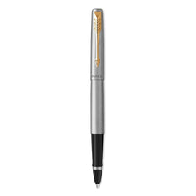 Load image into Gallery viewer, Parker Rollerball Pen, Jotter Stainless Steel Rollerball Pen, Gold Trim, Fine Tip, Black