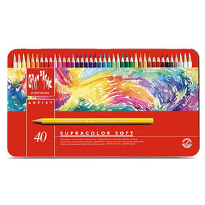 CREATIVE ART MATERIALS Caran D'ache Supracolor Metal Box Set Of 40 (3888.340) - GoldenGenie
