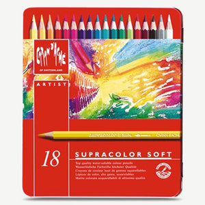 CREATIVE ART MATERIALS Caran D'ache Supracolor Metal Box Set Of 18 (3888.318) Caran d'Ache