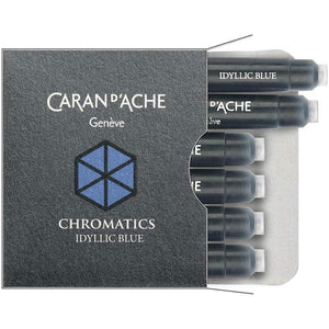 Caran d'Ache Chromatic Ink Cartridge, Idyllic Blue, Pack of 6 (8021.140) Caran d'Ache