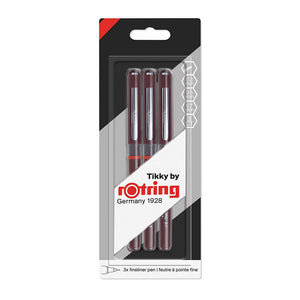 rOtring Tikky Graphic Fineliner Pens, 0.7mm & 0.5mm & 0.3mm, Black Ink, 3 Count