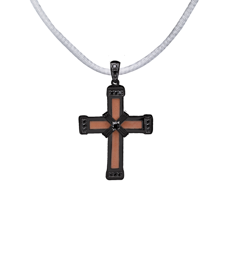 The Eternity Classic Vermeil Cross - Black Gold - Black Diamonds - Small