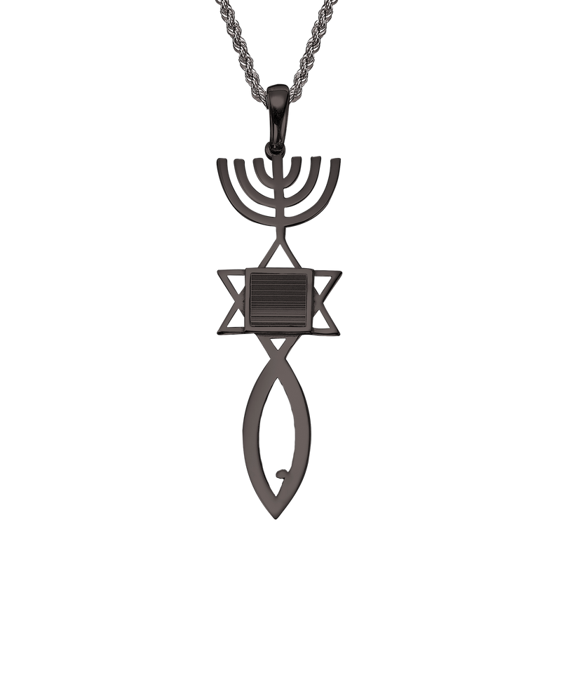 Messianic seal of Jerusalem pendant necklace - Black gold