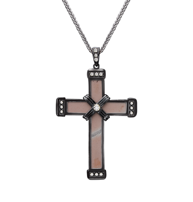 The Medium Eternity Classic Cross - Black Gold  - White diamonds
