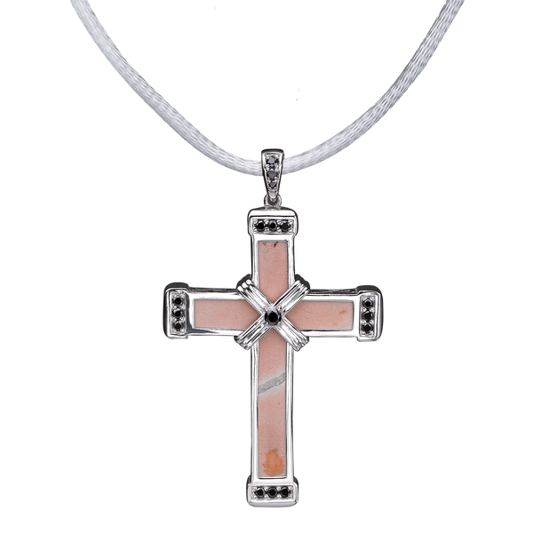 The Eternity Classic Vermeil Cross - White Gold - Black Diamonds - Medium