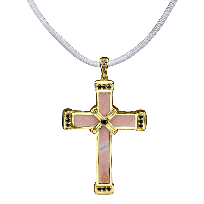 The Eternity Classic Vermeil Cross - Yellow Gold - Black Diamonds - Medium