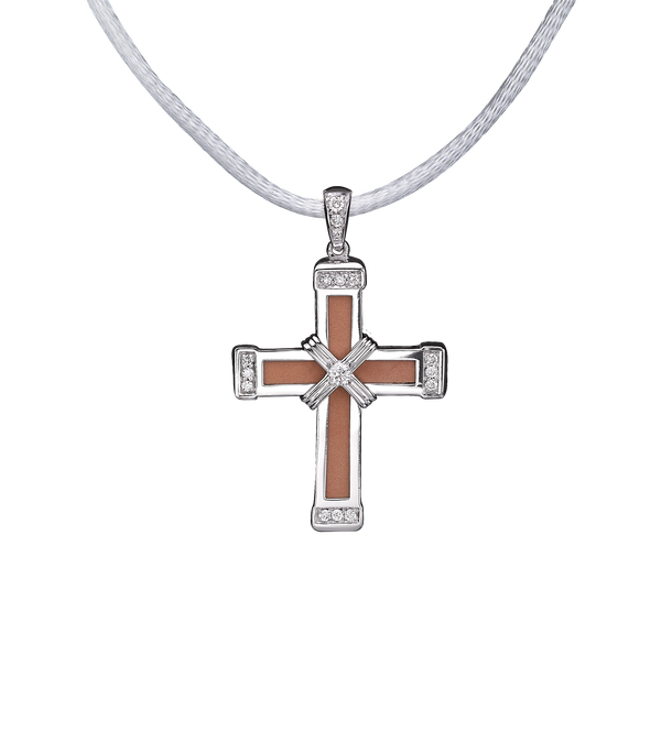 The Eternity Classic Vermeil Cross - White Gold - White Diamonds - Small