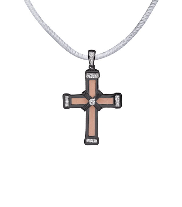 The Eternity Classic Vermeil Cross - Black Gold - White Diamonds - Small