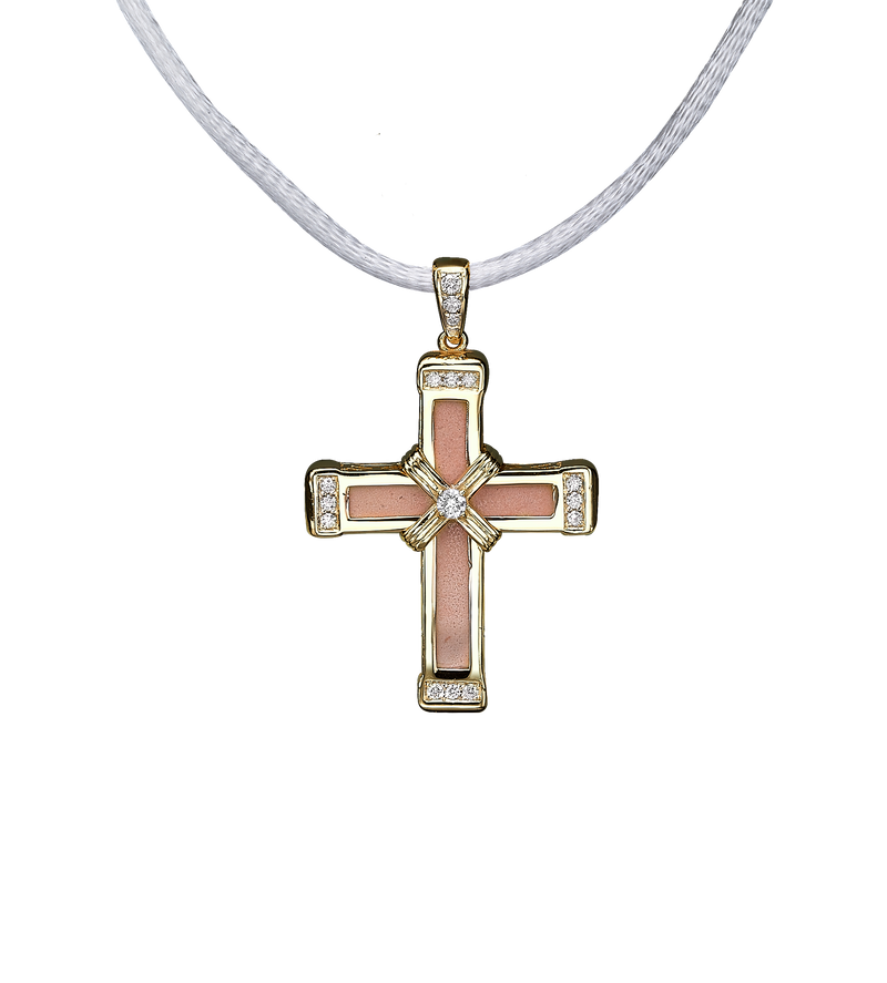 The Eternity Classic Vermeil Cross - Yellow Gold - White Diamonds - Small