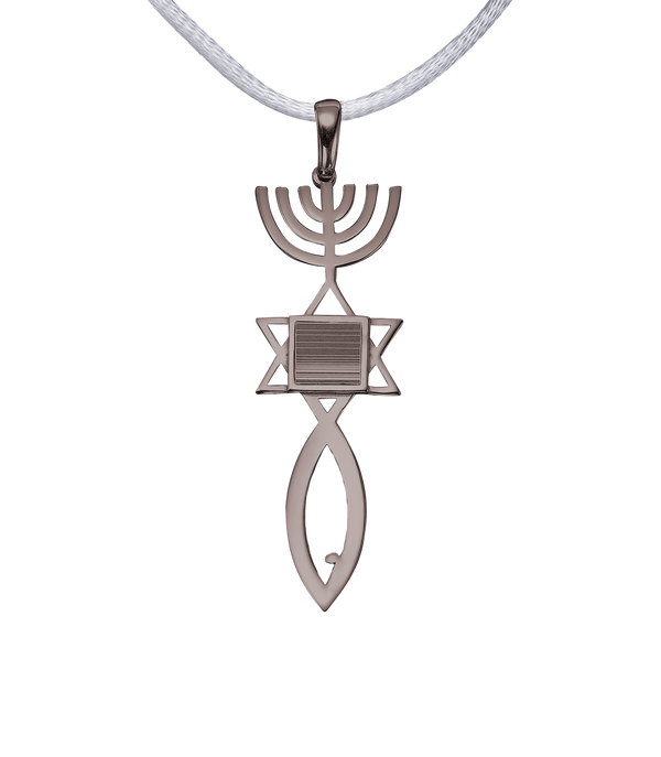 Messianic seal of Jerusalem pendant necklace - Vermeil White Gold