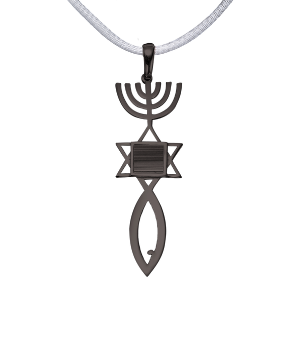 Messianic seal of Jerusalem pendant necklace - Vermeil Black Gold