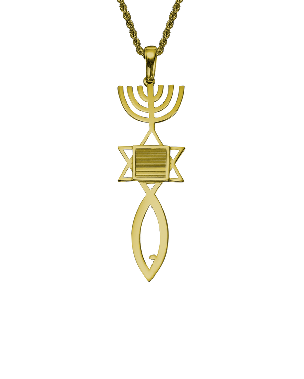 Messianic seal of Jerusalem pendant necklace - Yellow gold