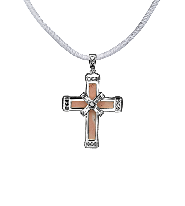 The Eternity Classic Vermeil Cross - White Gold - Black Diamonds - Small