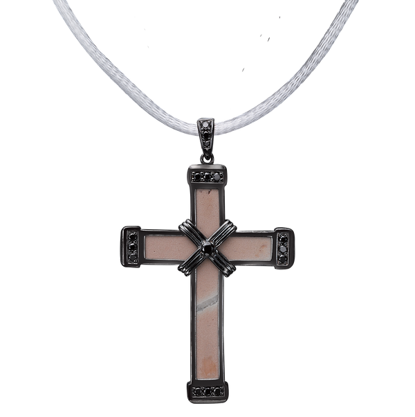 The Eternity Classic Vermeil Cross - Black Gold - Black Diamonds - Medium