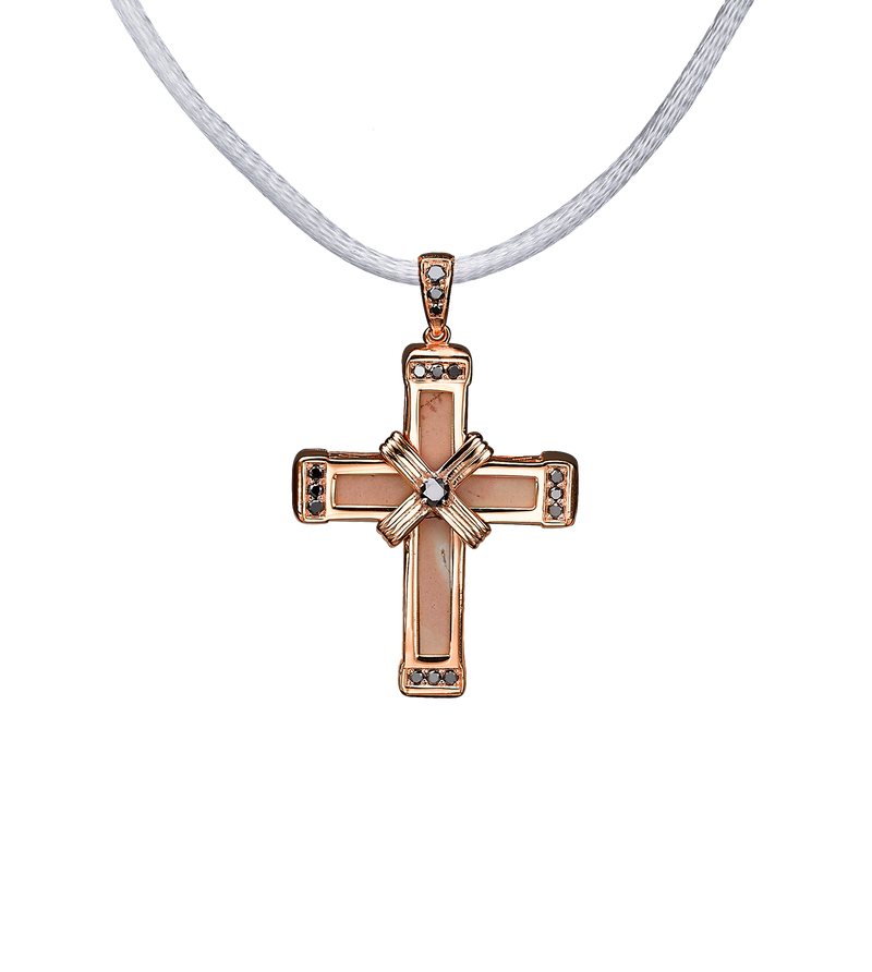 The Eternity Classic Vermeil Cross - Rose Gold - Black Diamonds - Small