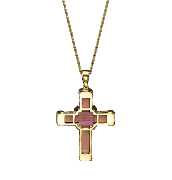 The Eternity Classic Cross - Yellow Gold - White Diamonds - Small