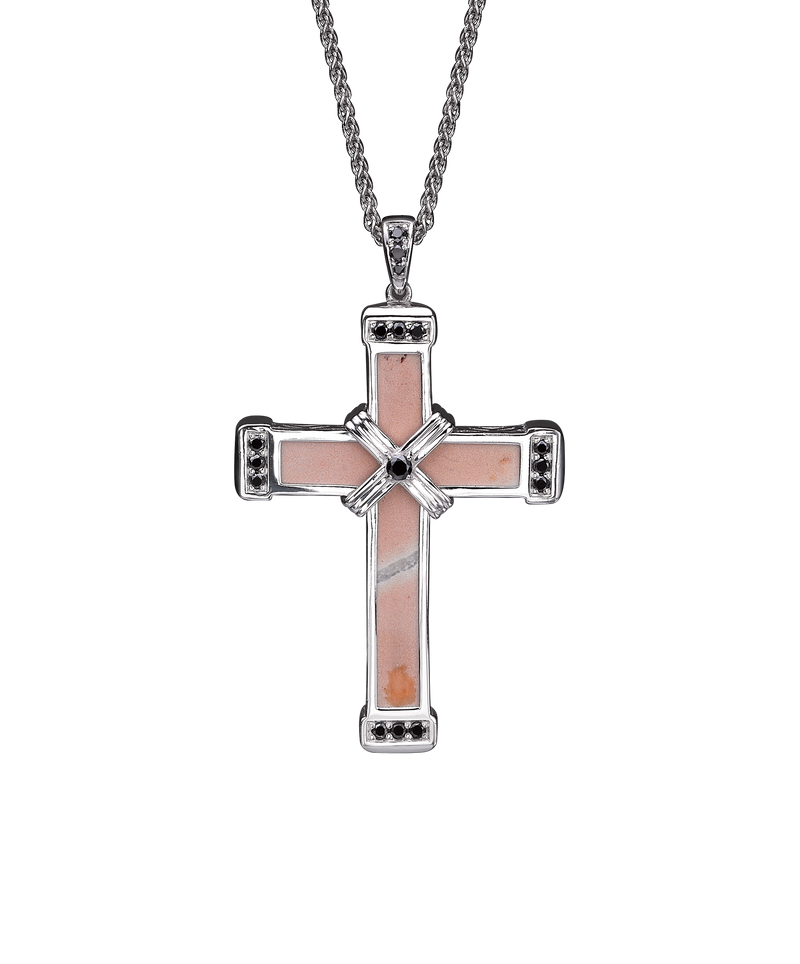 The Eternity Classic Cross - White Gold - Black diamonds - Medium