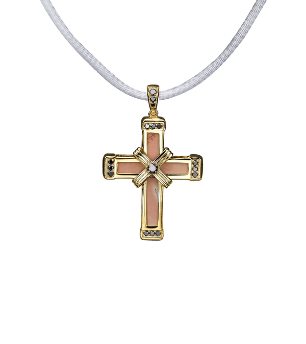 The Eternity Classic Vermeil Cross - Yellow Gold - Black Diamonds - Small