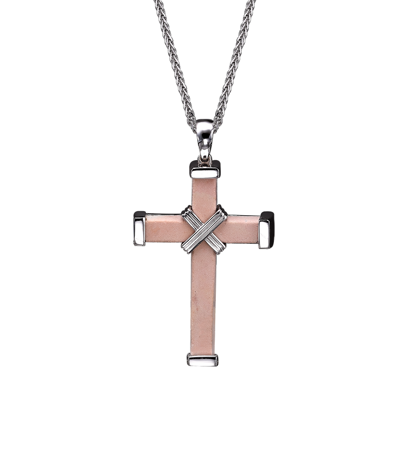 The Eternity Minimalist Cross - White gold - Medium