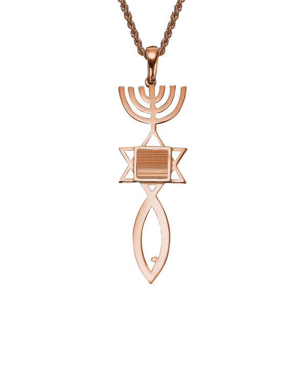 Messianic seal of Jerusalem pendant necklace - Rose Gold