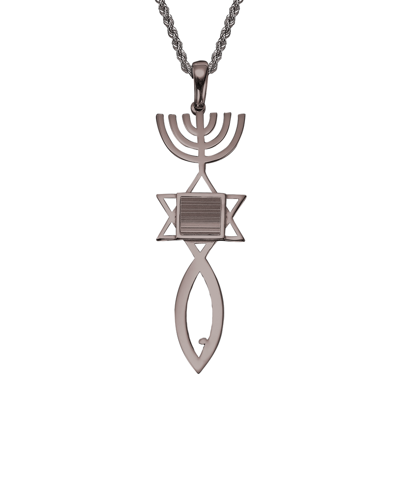 Messianic seal of Jerusalem pendant necklace  - White Gold