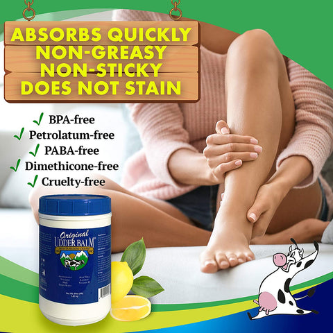 Absorbs quickly, non greasy, non stick, does not stain. Original Udder Balm