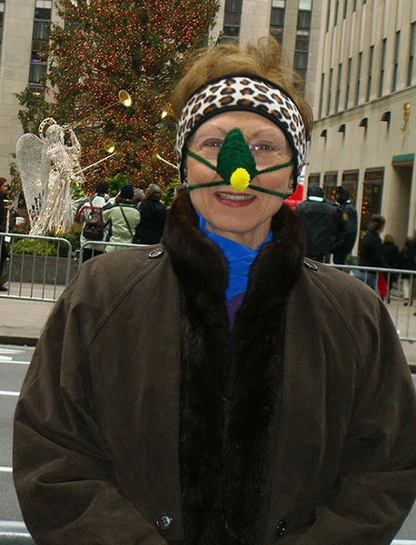 Woman wearing Handmade Nose warmer