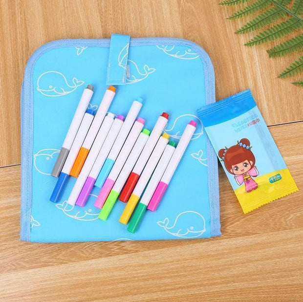 Biblaki™ - Erasable Doodling Book (12 Colored Pens Included)