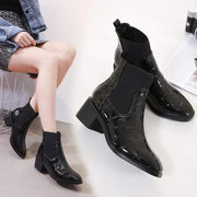 Europe station chic crocodile leather women's boots